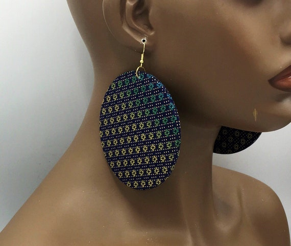 Huge Earrings - Fabric Earrings - Ethnic Earrings - Blue Fabric -Earrings - Big Earrings - Large Earrings - Fabric Earrings