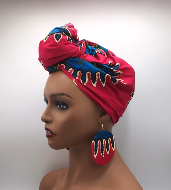 African Head Wrap - African Scarf - African Turban - African Wrap - Pink Head Wrap - Head Wrap - Turban - Head Tie