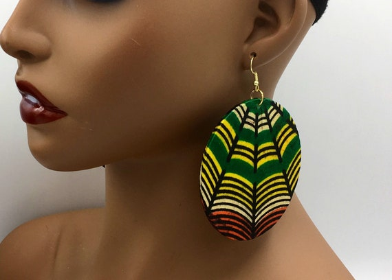 Big Fabric Earrings - Ankara Fabric - Big Earrings - African Earrings - African Jewelry - African Print Earrings