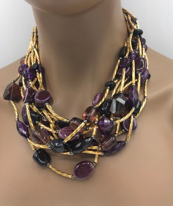 Purple Necklace - Big Necklace - Bold Necklace - Statement Necklace - Bib Necklace - Multi-Strand Necklace - Black and Gold Jewelry