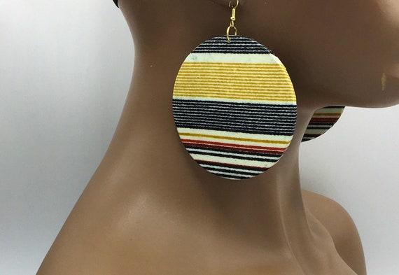 Big Fabric Earrings - Ankara Fabric - Big Earrings - African Earrings - African Jewelry - African Print Earrings