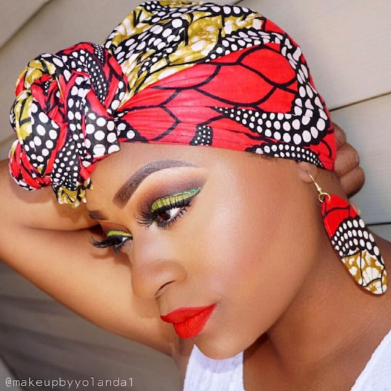Red & Gold Ankara Head Wrap