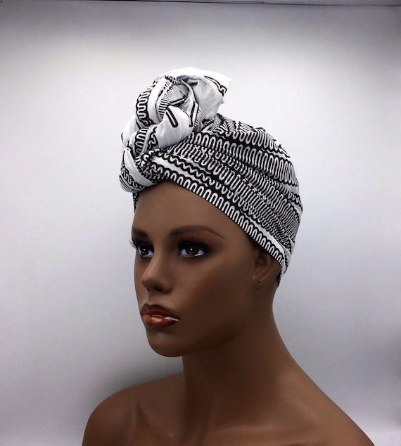 Black & White Head Wrap - African Head Wrap - Black Scarf - African Turban  - Fashion Turban - Black Turban - Hijab - Chemo Wrap - Cancer