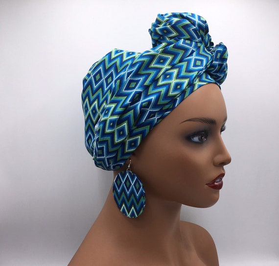 African Head Wrap - African Scarf - African Turban - African Wrap - Ankara Head Wrap - Blue Head Wrap- Turban - Head Tie - African He