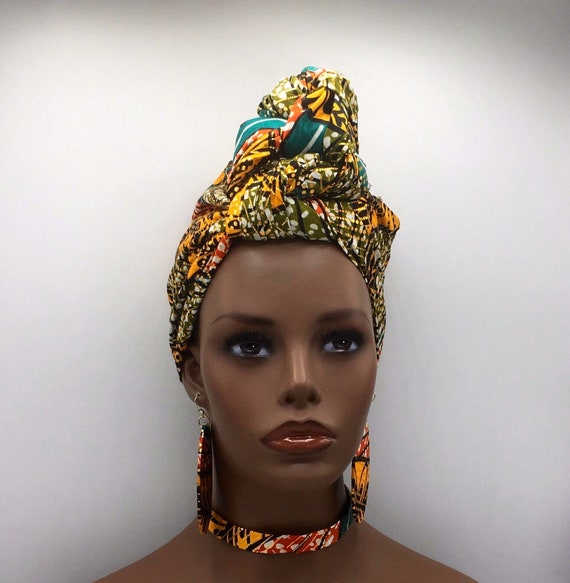 Green & Metallic Gold African Head Wrap - African Scarf - African Turban - African Wrap - Ankara Head Wrap - Turban - Head Tie