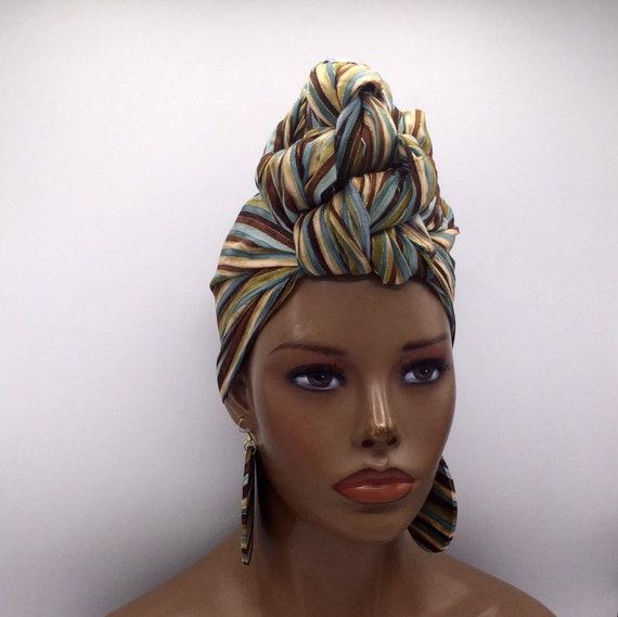 Striped Head Wrap - African Head Wrap - Head Wrap - African Turban  - Cloth Turban - Head Tie - Green Turban - Wraps - Turban
