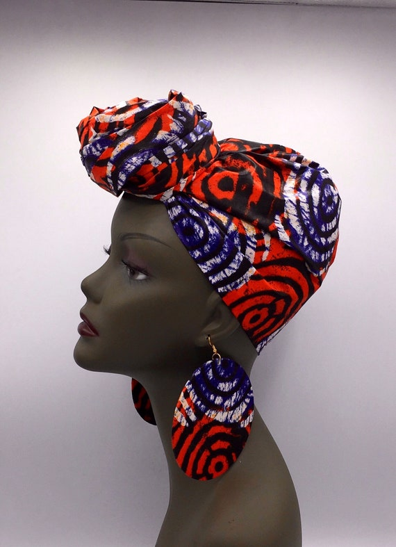 African Head Wrap - Yellow & Red Head Wrap - African Turban - African Wrap - Headdress - Turban - Head Tie - Wraps - Hijab