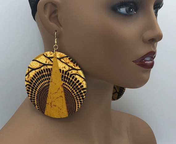 African Earrings - Ankara Earrings  - Wax Earrings - Big Earrings - Fabric Earrings - Big African Earrings - Large Earrings - Big Earrings