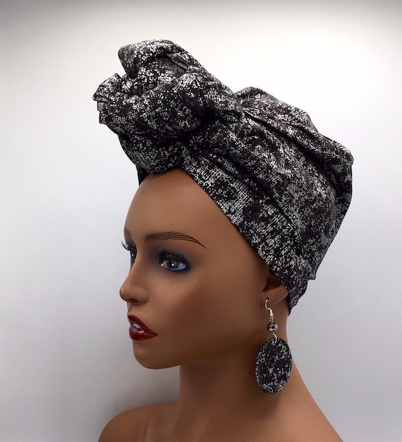 Black and Silver Head Wrap - African Head Wrap - African Scarf - African Turban  - Cloth Turban - Fashion Turban - Turban