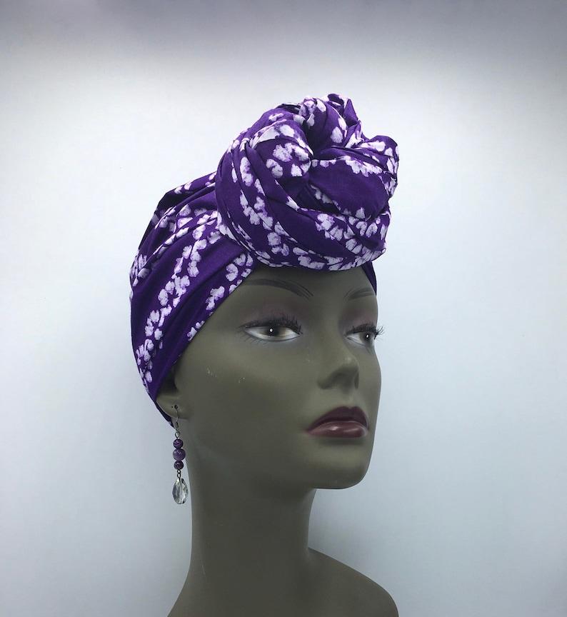 Purple Tie Dye Head Wrap - African Head Wrap - Purple Scarf - African  Turban - Fashion Turban - Hijab - Chemo Wrap - Caner