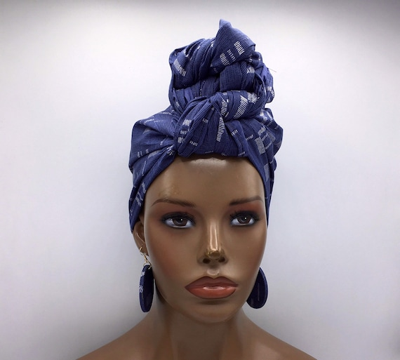 Blue Head Wrap w/ Silver Accents - African Head Wrap - Fashion Turban - African Scarf - Chemo -
