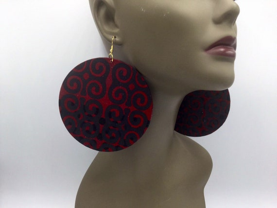 African Earrings - Burgundy & Black - Ankara Earrings - Big Earrings - African Jewelry - Ankara  - Big African Earrings - Large Earrings