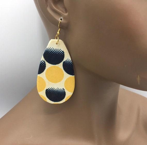 African Print Earrings - Tear Drop - Ankara Earrings - Wax Print Earrings - African Jewelry - Ankara Print Earrings - Big African Earrings