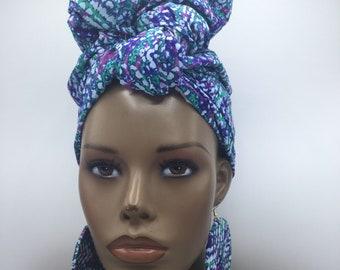 African Head Wrap - African Scarf - African Turban - African Wrap - Ankara Head Wrap - Scarf - Wax Turban - Head Tie - Blue Headwrap