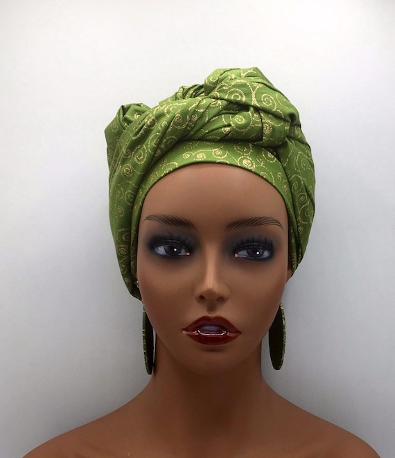 African Head Wrap - African Scarf - African Turban - African Wrap - Ankara - Red and Gold - Kente Turban - Head Tie - African Headdress