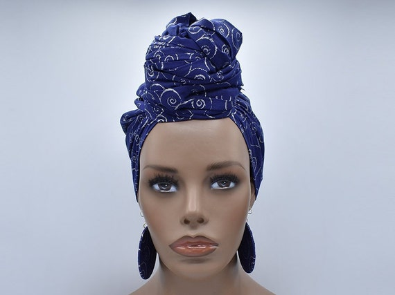 Blue & Silver Head Wrap - Glitter Fabric - African Turban  - Fashion Turban - African Head Wrap - Hijab - Chemo Wrap - Cancer