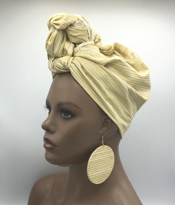 Beige & Gold Head Wrap - African Head Scarf - African Turban - Fashion Turban - Afrocentric - Hijab - Chemo Head Wrap