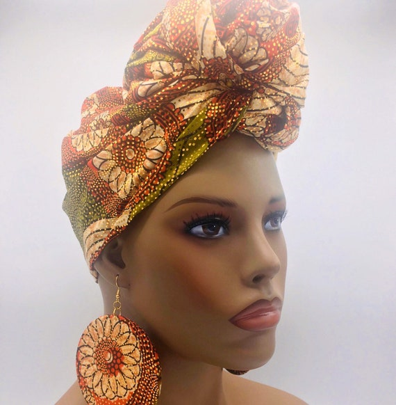 African Head Wrap - African Scarf - African Turban - African Wrap - Ankara Head Wrap - Orange Head Wrap- Turban - Head Tie - African He