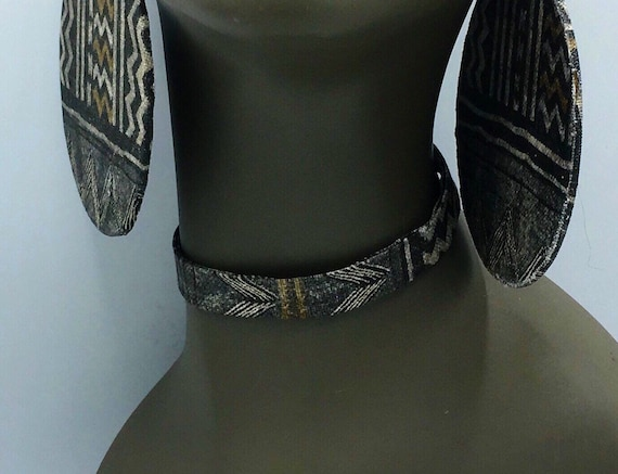Tribal Print Choker, Fabric Necklace, Fabric Ribbon Necklace, Fabric Necklace, Ribbon Necklace