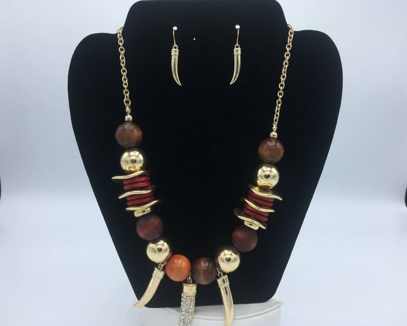 African Bib Necklace w/ Matching Earrings - African Jewelry Set - Wedding Jewelry