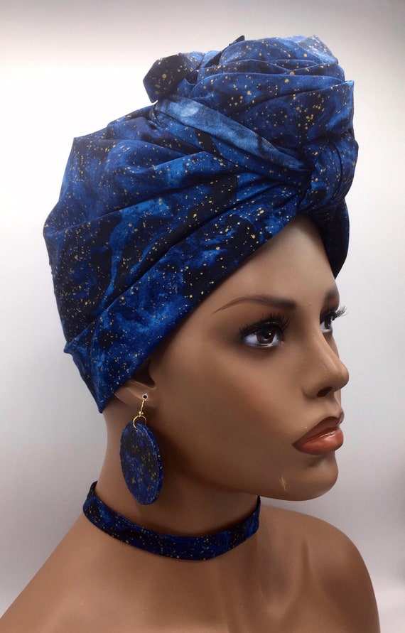 Blue Head Wrap w/ Gold Accents - African Head Wrap - Fashion Turban - African Scarf - Chemo -