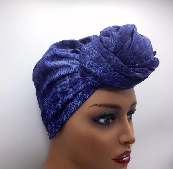 Denim Inspired Head Wrap - Fashion Turban - African Turban - African Head Wrap - Afrocentric - Head Scarf - Head Wrap - Hijab