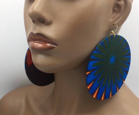 African Earring - Ankara Earrings - Wax  Earrings - Ankara  Earrings - Big African Earrings - Large Earrings - Big Earrings - Fabric Earring
