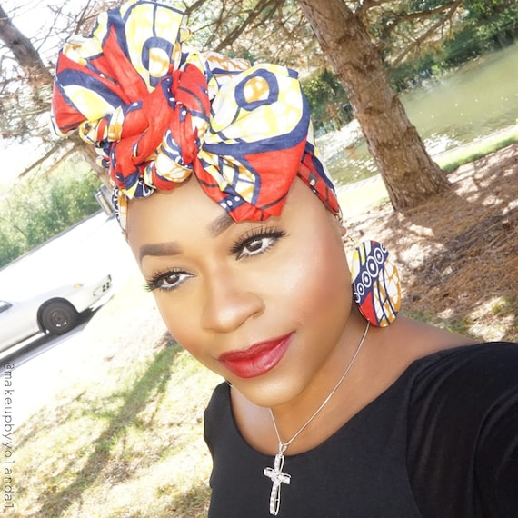Red, Yellow and Blue African Head Wrap