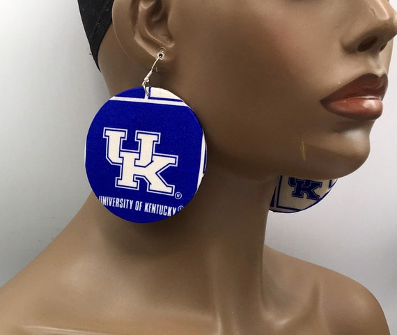 Huge Earrings - Fabric Earrings - Ethnic Earrings - University of Kentucky - University of Louisville - Big Earrings - Large Earrings