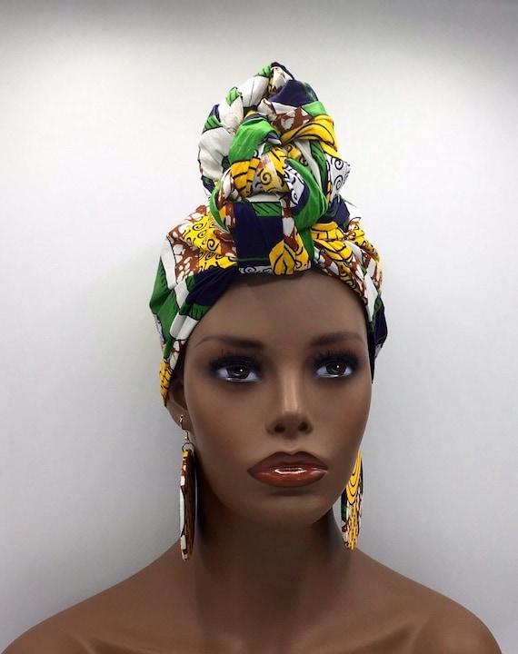 Yellow and Green Head Wrap - Head Scarf - African Turban - African Head Wrap - Ankara Head Wrap - Green Head Wrap- Fashion Turban - Hijab