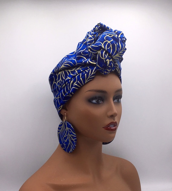 Blue & Gold Head Wrap - Glitter Fabric - African Turban  - Fashion Turban - African Head Wrap - Hijab - Chemo Wrap - Cancer