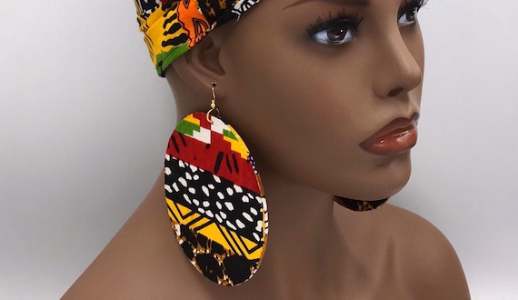 African  Earrings - Yellow & Green - Ankara Earrings - Wax  Earrings - African Jewelry - Ankara  - Big African Earrings - Large Earrings