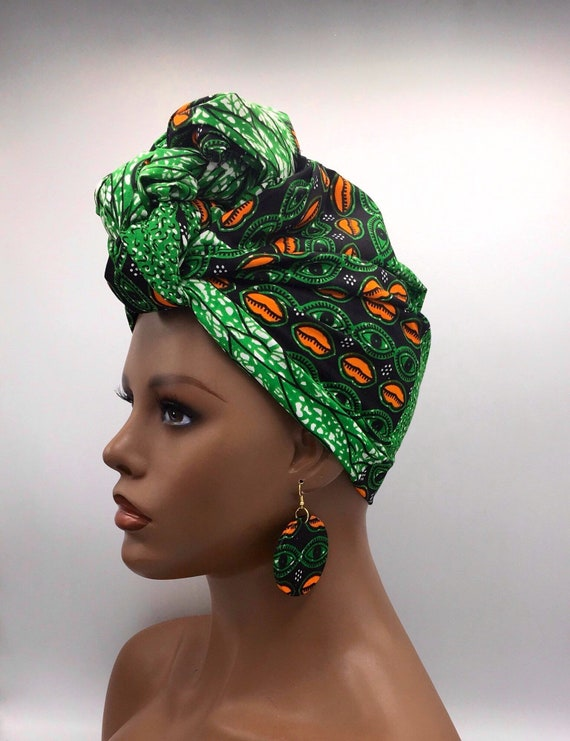 Green Head Wrap - African Scarf - African Turban - African Head Wrap - Ankara Head Wrap - Wax Turban - Fashion Turban - Hijab