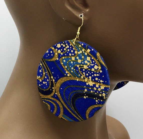 African Print Earrings - Ankara Earrings - Wax Print Earrings - African Jewelry - Ankara Print Earrings - Big African Earrings