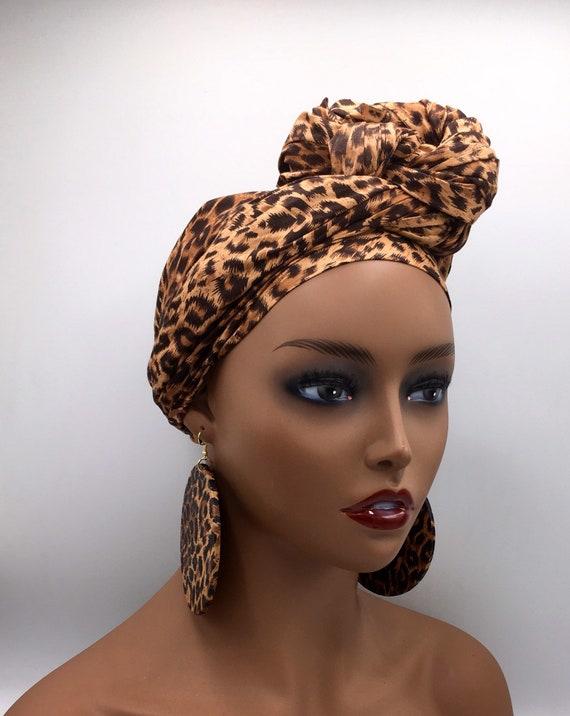 Animal Print Head Wrap - African Head Wrap - Head Scarf - African Turban - Cloth Turban - Head Tie - Chemo - Cancer