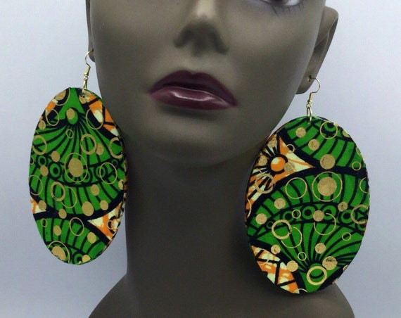 African  Earrings - Blue & Gold - Ankara Earrings - Fabric Earrings - African Jewelry - Ankara  - Big African Earrings - Large Earrings