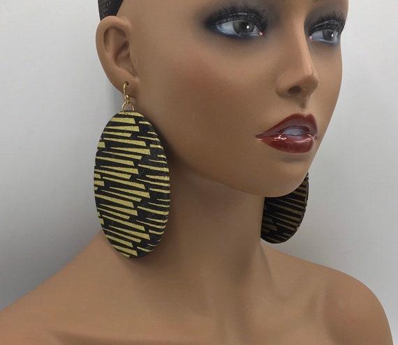 Huge Earrings - Fabric Earrings - Ethnic Earrings - Afrocentric Fabric Earrings - Big Earrings - Large Earrings - Fabric Earrings