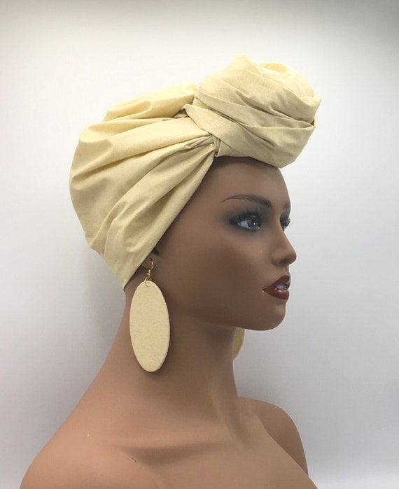Beige & Gold Head Wrap - Mettalic Head Wrap - African Inspired Turban - Head Tie - Gold Scarf - Gold Head Wrap