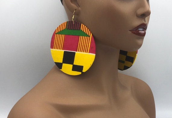 Kente Print Earrings - African Earrings - Ankara Earrings - Wax Earrings - Ankara  Earrings - Big Earrings - Large Earrings - Fabric Earring