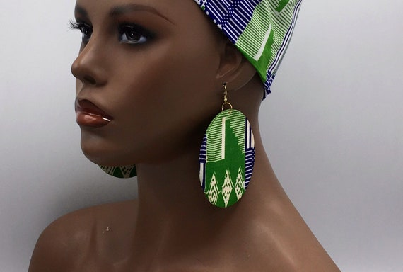 African Print Earrings - Ankara Earrings - 2-Sided - Wax Print Earrings - African Jewelry - Ankara Print Earrings - Big African Earrings