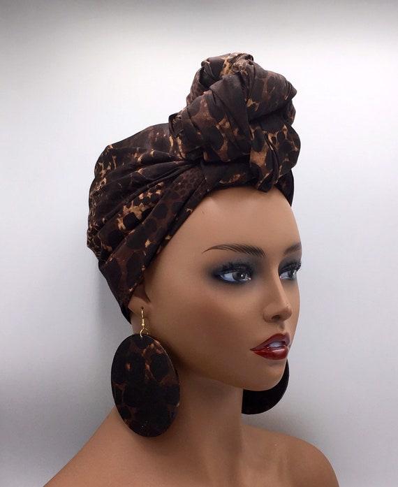 African Head Wrap - Ankara Head Wrap - Head Scarf - African Turban - Head Wrap - Head Tie - Brown and Beige Head Wrap