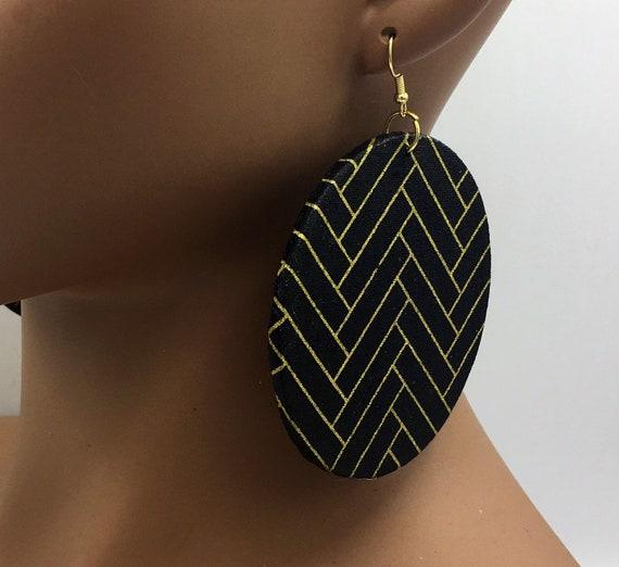 Huge Earrings - Fabric Earrings - Black Earrings - Fabric Earrings - African Earrings - Big Earrings - Large Earrings