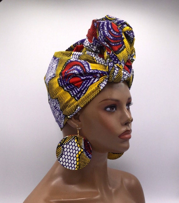 African Head Wrap - Yellow & Red Head Wrap - African Turban - African Wrap - Multicolor  - Turban - Head Tie - Wraps - Hijab