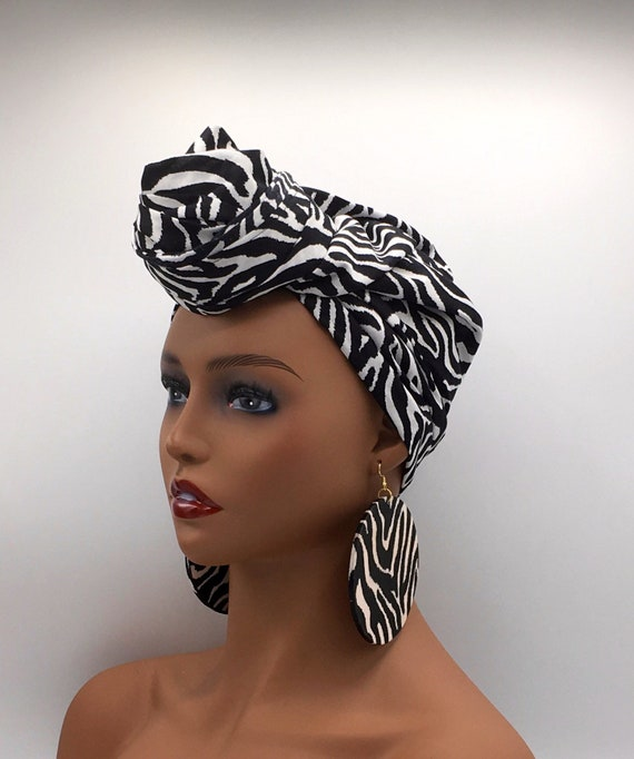 Black and White Head Wrap - African Turban - African Wrap - African Head  Wrap - Fashion Turban - Chemo Wrap - Cancer - Funeral Hat