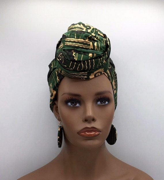 Green & Gold Head Wrap - African Scarf - African Head Wrap - Head Scarf - Head Wrap - Fashion Turban - Hijab - Chemo - Cancer