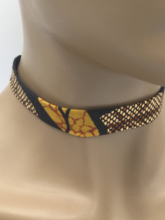 African Ribbon Necklace, Fabric Ribbon Necklace, Fabric Necklace, Ankara Necklace, Ribbon Necklace, African Necklace