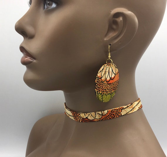 Orange & Gold Ribbon Choker, Fabric Ribbon Necklace, Fabric Necklace, Ankara Necklace, Ribbon Necklace, African Necklace