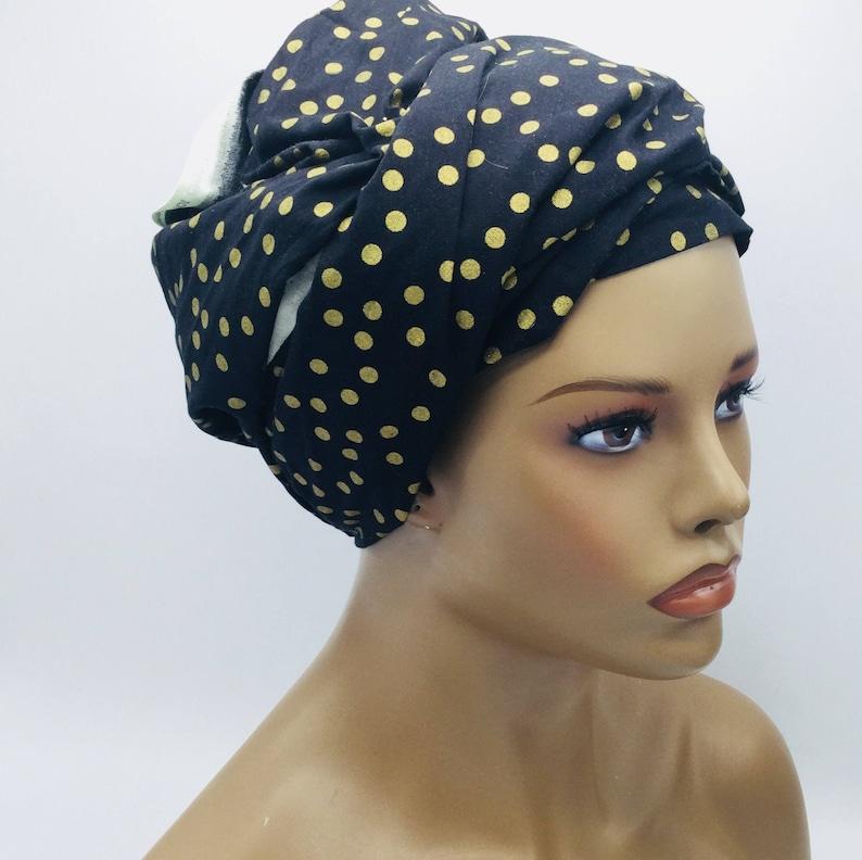 Black and Gold Head Wrap Polka Dot Head Wrap African Head  750f9c11a69