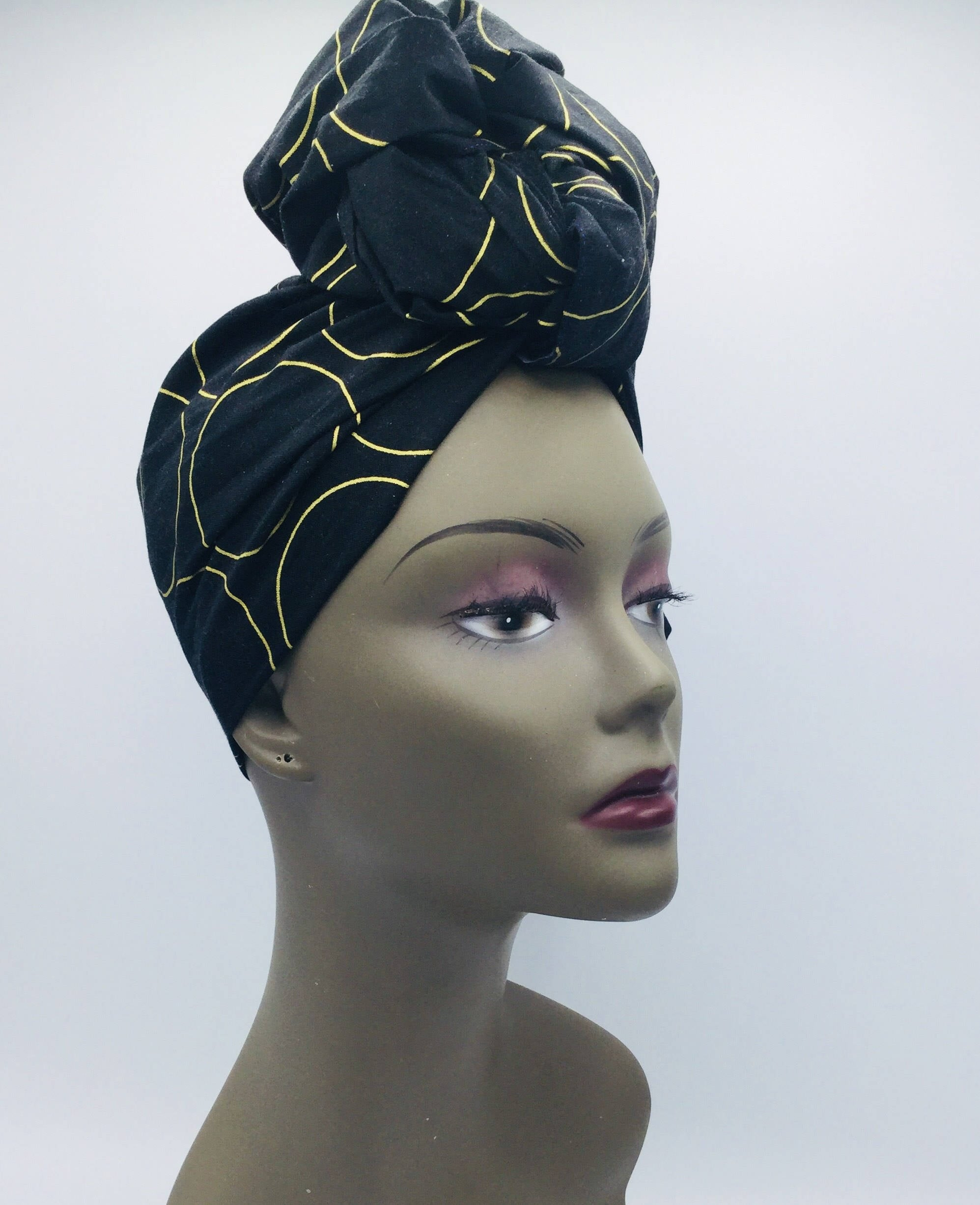 Black   Gold Head Wrap - Circle Pattern - African Inspired Turban - Head Tie  - Black Scarf de8420b8372