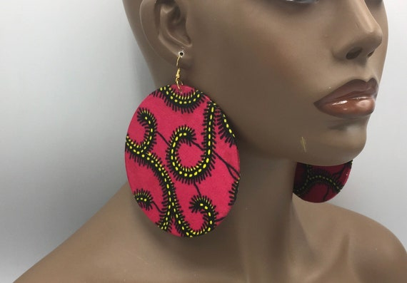 Huge Earrings - Fabric Earrings - Ethnic Earrings - Pink Fabric Earrings - Big Earrings - Large Earrings - Fabric Earrings